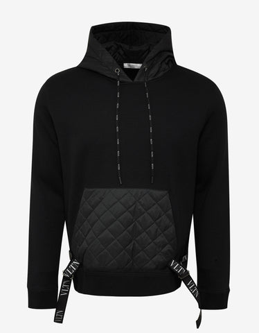 Valentino Black Quilted Panel Hoodie