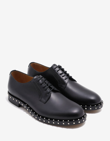 Valentino Garavani Black Derby Shoes with Rockstuds