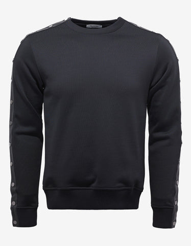 Valentino Black Text Print Sweatshirt with Stud Sleeves