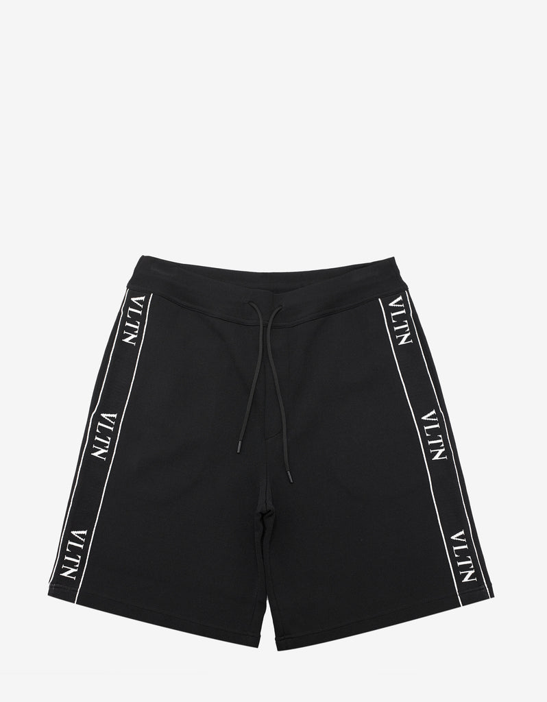 Black VLTN Band Sweat Shorts