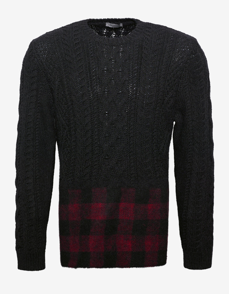 Black Sweater with Check Panel
