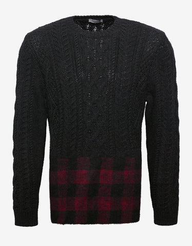 Valentino Black Sweater with Check Panel