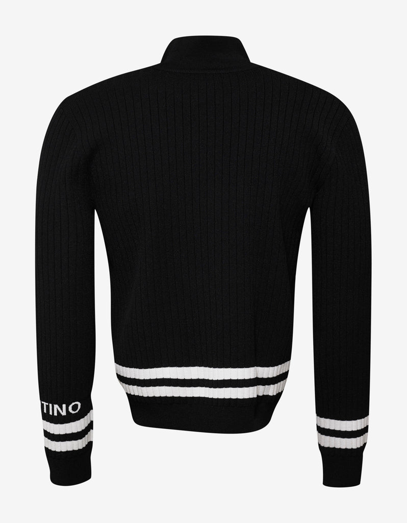 Black Zip Logo Cardigan