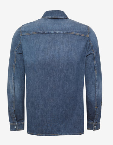 Valentino Blue Denim Shirt with Dragonfly Embroidery