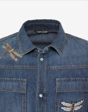 Blue Denim Shirt with Dragonfly Embroidery
