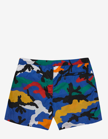 Blue & Multi Camouflage Print Swim Shorts