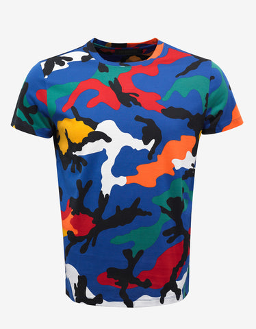 Blue & Multi Camouflage Print T-Shirt