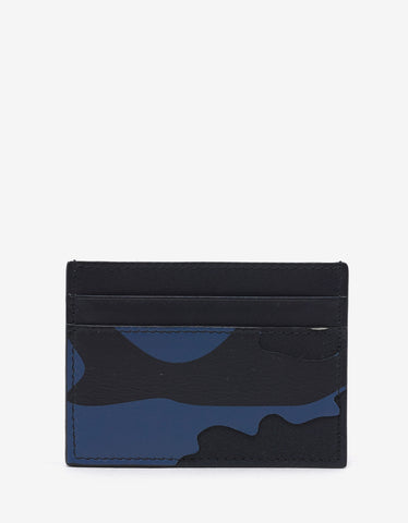 Valentino Garavani Blue & White Camouflage Card Holder