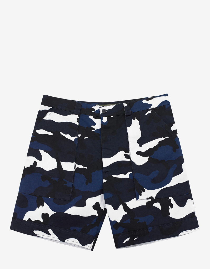 Blue & White Camouflage Print Chino Shorts