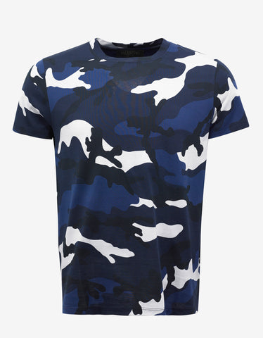Blue & White Camouflage Print T-Shirt
