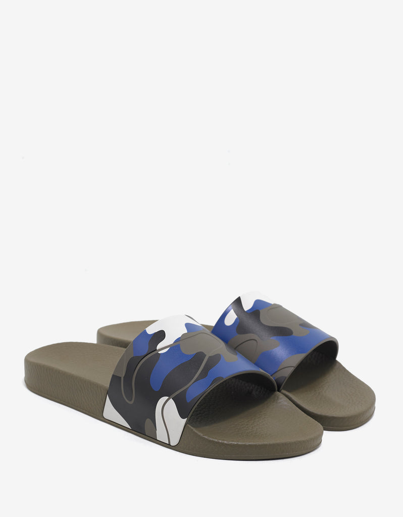 Blue & White Camouflage Slide Sandals