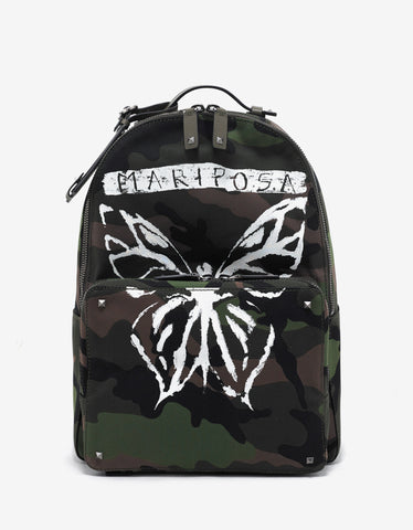 Valentino Garavani Green Camo 'Mariposa' Print Canvas Backpack