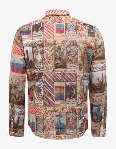 Valentino Cuban Cigar Box Graphic Print Shirt