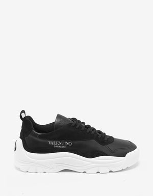 Black Gumboy Calf & Suede Leather Trainers -