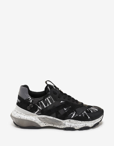 Valentino Garavani Black VLTN Camo Bounce Trainers with Attachment