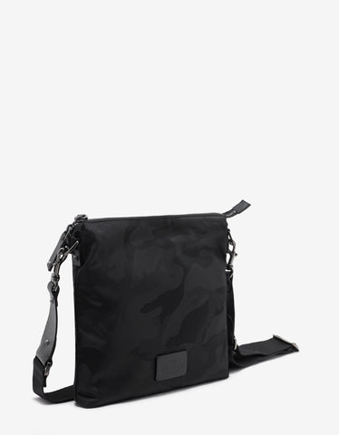 Valentino Garavani Black Camouflage Canvas Messenger Bag