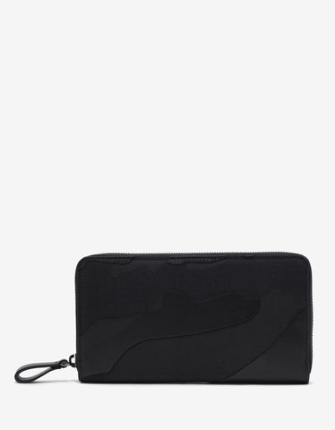 Valentino Garavani Black Camouflage Long Zip Wallet