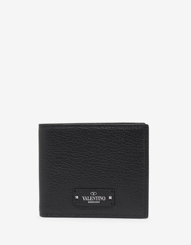 Valentino Garavani Black Grain Leather Billfold Wallet with Tonal Logo