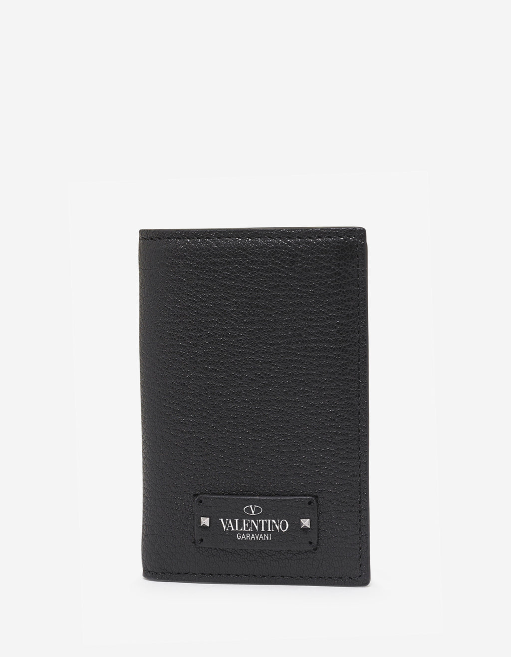 Black Grain Leather Card Wallet with Tonal Logo
