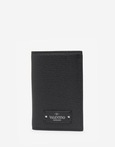 Valentino Garavani Black Grain Leather Card Wallet with Tonal Logo