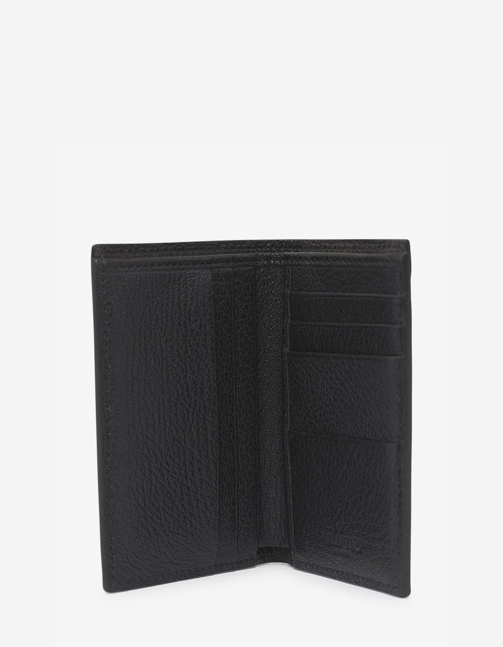 Black Grain Leather Card Wallet with Tonal Logo -