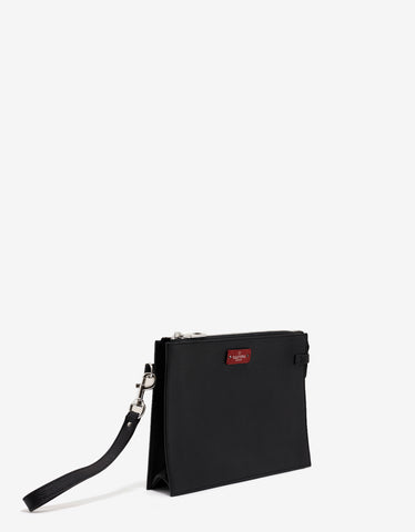 Valentino Garavani Black Grain Leather Clutch