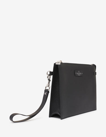 Valentino Garavani Black Grain Leather Clutch with Tonal Logo