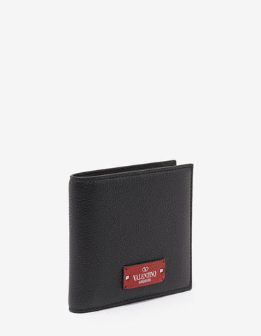 Valentino Garavani Black Grain Leather Billfold Wallet