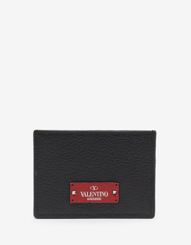 Valentino Garavani Black Grain Leather Card Holder