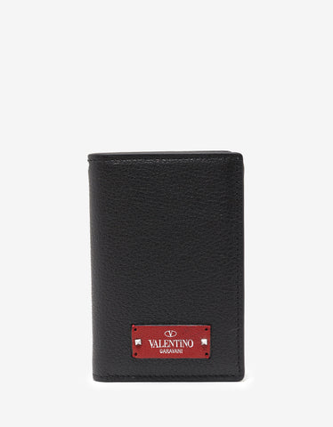 Valentino Garavani Black Grain Leather Card Wallet