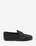 Black Grain Leather Rockstud Driving Shoes