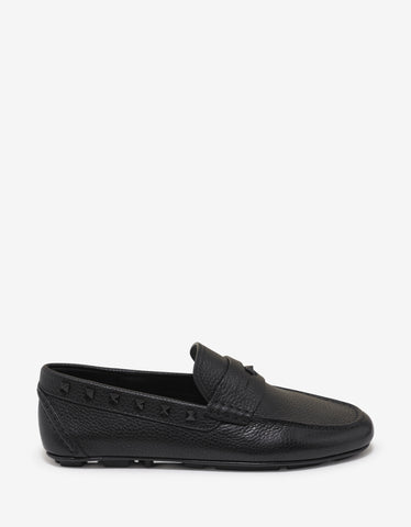 Valentino Garavani Black Grain Leather Rockstud Driving Shoes