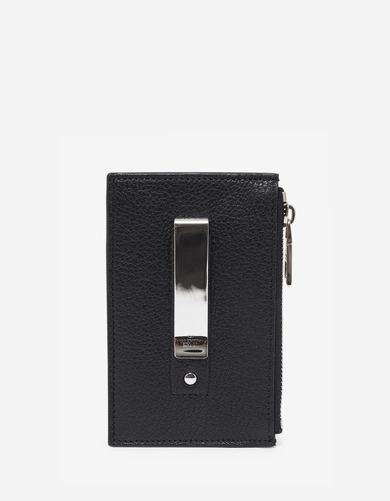 Black Grain Leather Zip Card Holder with Tonal Logo