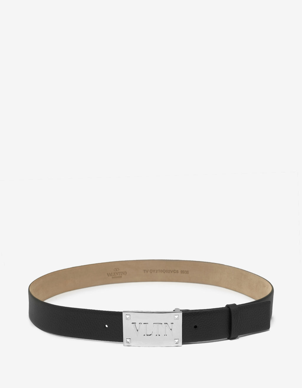 Black Leather VLTN Buckle Belt
