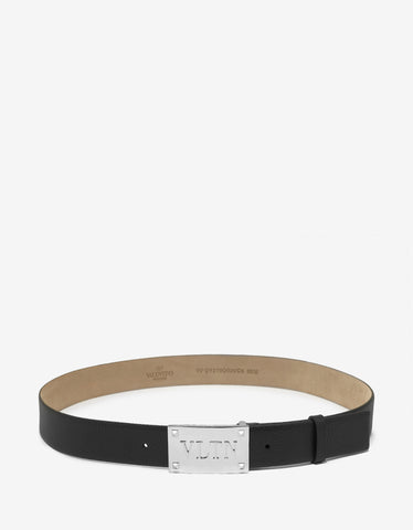 Valentino Garavani Black Leather VLTN Buckle Belt