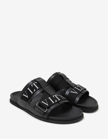 Valentino Garavani Black Leather VLTN Sandals