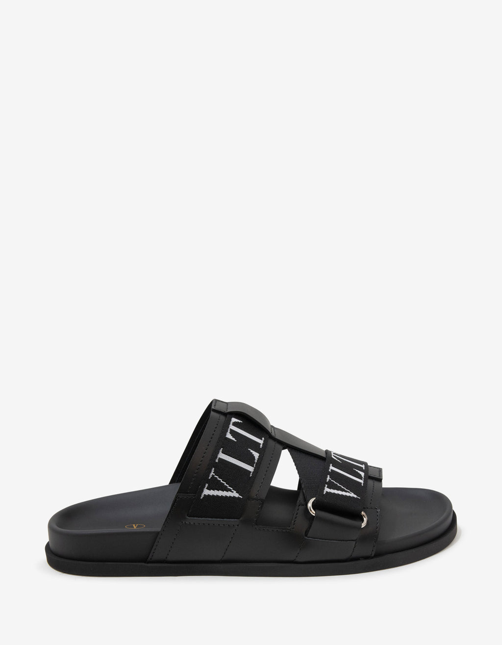 Black Leather VLTN Sandals