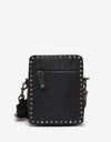 Black Nylon Rockstud Shoulder Bag