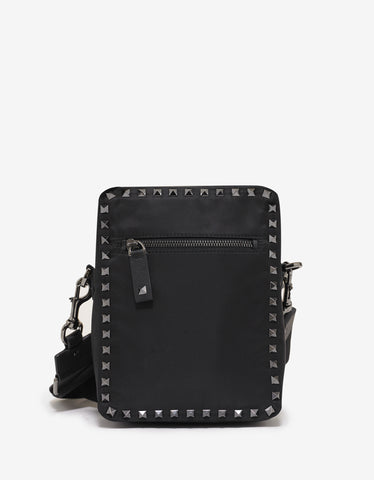 Valentino Garavani Black Nylon Rockstud Shoulder Bag
