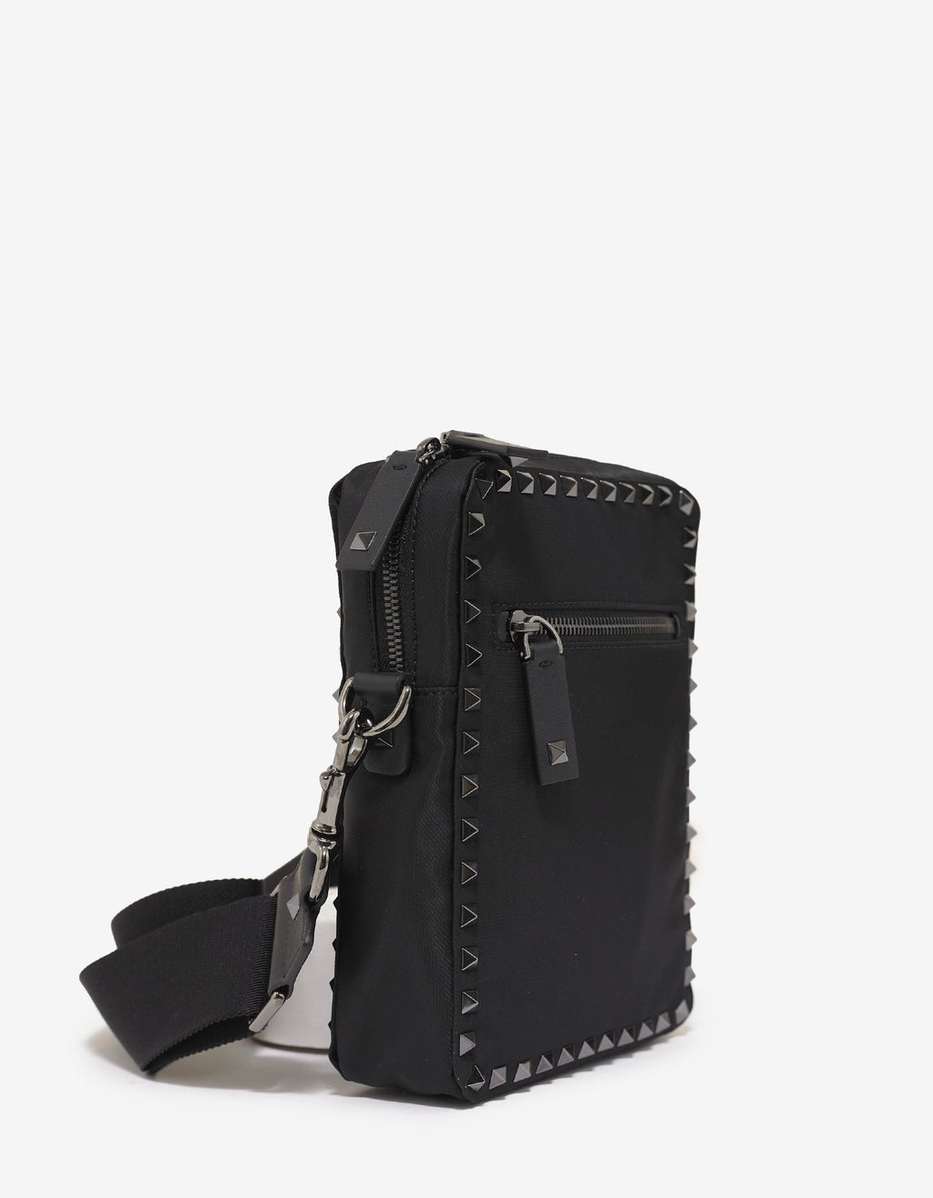 Black Nylon Rockstud Shoulder Bag -