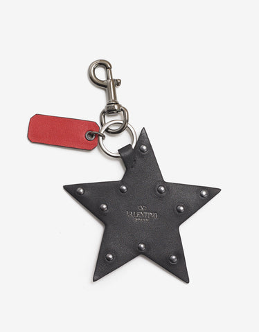 Valentino Garavani Black Gloss Canvas & Leather Star Keyring