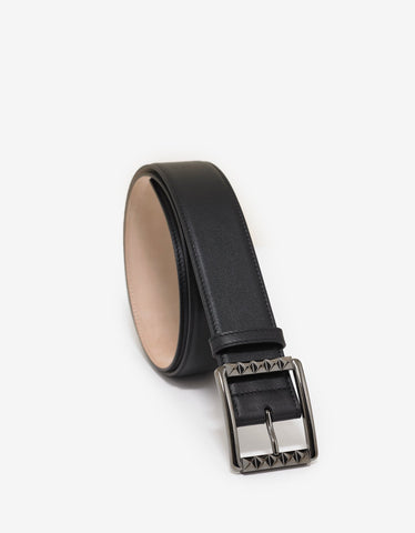 Black Mock Croc Leather Medusa Buckle Belt