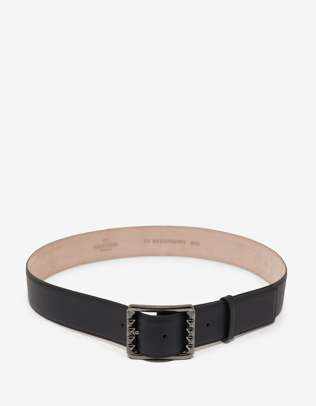 Black Rockstud Buckle Leather Belt -