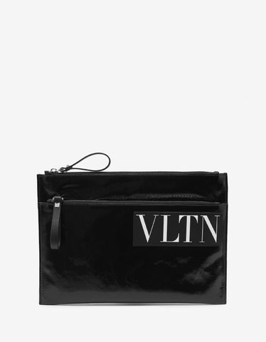 Valentino Garavani Black VLTN Gloss Canvas Clutch