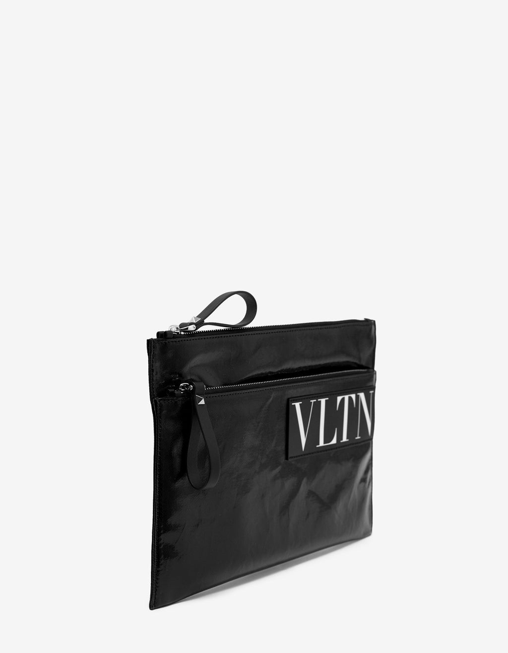 Black VLTN Gloss Canvas Clutch