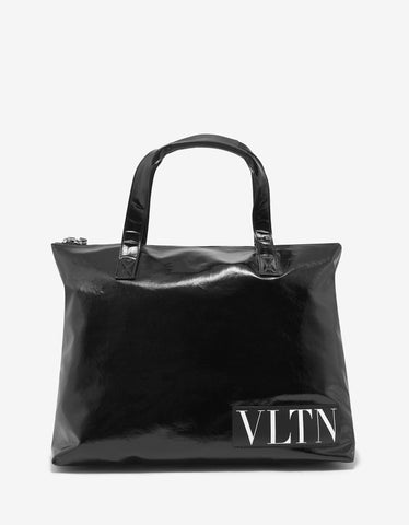 Valentino Garavani Black VLTN Gloss Canvas Tote Bag