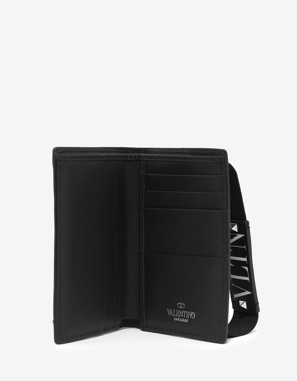 Black VLTN Strap Card Wallet