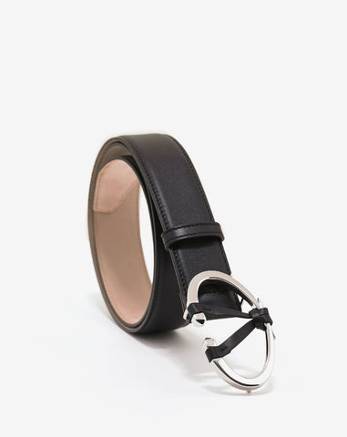 Valentino Garavani Black 'V' Buckle Belt