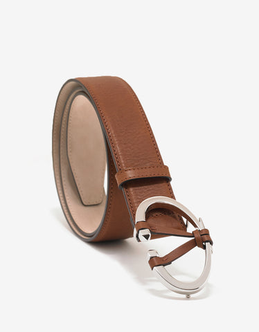 Valentino Garavani Brown 'V' Buckle Belt