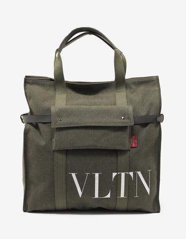 Green Canvas VLTN Tote Bag